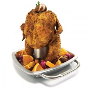 Stojak do kurczaka z brytfanną w praktyce Broil King 69133